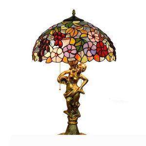 Lamp Table Lamp Fixação Mediterrâneo vitral decorativa Uva Luz para sala de estar Quarto antigo arte base Tiffany Desk