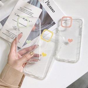 iPhone Para Qianliyao claro bonito do coração Amor Phone Case 11 Pro X XR XS Max 7 8 Plus 6 6s Transparente Simples macio TPU tampa traseira