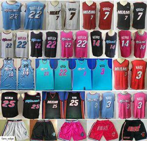 2019-20 New MiamiHaet Dwyane 3 Wade Jerseys Kendrick 25 Nunn 14 Tyler Herro Goran 7 Dragic Jimmy 22 Butler Basketball Jersey Short