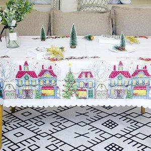 Polyester gedruckte Weihnachtsstoff Tischdecke Weihnachtstischdecke Schöne Hochzeit Hauptdekoration Restaurant Mode