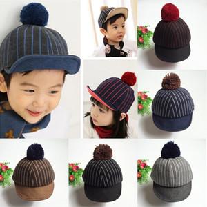 Vertical meninos chapéu tarja pico Spire baby baby engrossado baseball cap cap equestre outono bola e inverno das crianças