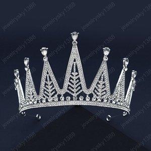 Luxuxfrauen Headpeice voller Bohrgerät-Silber-Farben-handgemachte Kristalle Strass Crown Braut Hochzeit Tiara Stirnband Haarschmuck