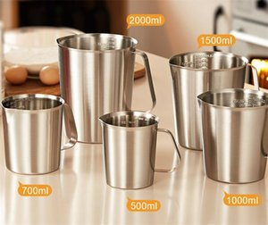 304 Stainless Steel Measuring Cup with Inner Scale Design Kitchen Scale Cup Liquid Measuring Cups Pull Flower Cup Kitchen Tools T200326