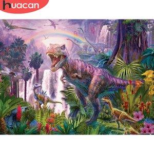HUACAN place pleine / ronde diamant peinture 5D Dinosaur diamant broderie point de croix animale Décoration