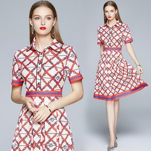 Printed Lady Dress Short Sleeve OL Summer Dress High-end Fashion Women Dress Boutique Girl Dresses