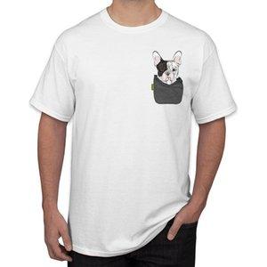 Sıcak Hipster Frenchie Bulldog In My Pocket Baskı Erkekler Tişört Cep Alman Çoban Tasarım Kısa Kollu O-Boyun Tee Tops