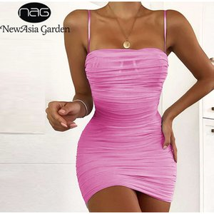 Casual Dresses Asia Double Layers Mesh Party Dress Summer 2021 Women Elegant Spaghetti Straps Ruched Club Mini Tight Sexy Pink