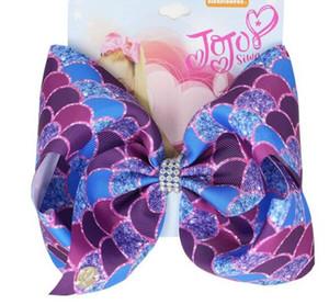 10PCS / LOT SALE Regenbogen 8inch Mermaid JOJO SWIA Haarschleife Haarclip für Mädchen Handgemachte Fischschuppen Kinder Bowknot Zubehör