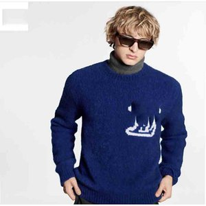 Men's solid color simple pullover sweater men and women front and back white LOGO jacquard sweater blue S M L XL XXL
