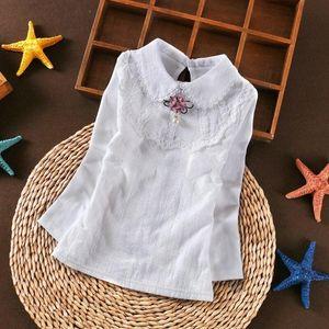 Autumn White Girls Blouse Shirts Baby Teen School Girl Lace Tops Long Sleeve Kids Cotton Shirt Children Clothes 6 8 10 12 Years 0J5u#