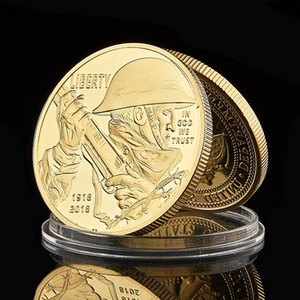 1918-2018 Liberty In God We Trust Metal Gold Plated Commemorative Token US Challenge Army Coin Business Gifts