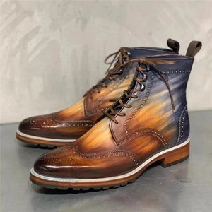 Para hombre de las botas del tobillo de cuero de la PU 2020 para arriba Rojo Encaje Mixta del talón baja del color Calzado de hombres Botas básico del tamaño grande 37-47 zapatos casuales para hombres