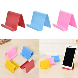 Plastic Phone Holder Fixed Holder Candy Color Kitchen Organizer Mini Portable Business Card Holder Mobile Phone Stand Household LX2915