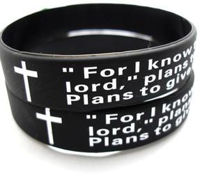 2911 senhores oração pulseiras Homens Moda Cruz de silicone em massa Lotes 100pcs Inglês Jeremias Wristbands atacado religioso de Jesus Lotes Jóias