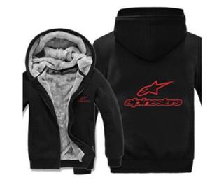 Un suéter grueso traje de carreras estrella más gruesa de terciopelo de la cremallera chaqueta con capucha, cálido otoño e invierno chaqueta de montar a prueba de viento