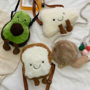 가을 겨울 새로운 봉제 인형 새로운 작은 어깨에 매는 가방 아보카도 빵 클라우드 낙타 일본어 원래 플러시 학생 어깨 가방