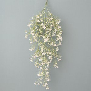 Artificial Flower 5 Branches Wall Hanging Fantasy Cherry Rattan Plastic Flower Home Ceiling Wedding Decoration Fake