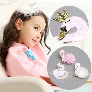 Hair Clips for Women Accessories Pink Swan Princess Barrette for Children Sweet Fashion Hairgrips Kawaii Headwear Party Hair New