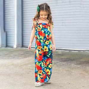 Summer flower girls jumpsuit floral girls braces suspenders fashion beach pants kids  clothes girls trousers kids clothes