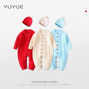 g5pPk Newborn infant knitted jump newborn knitted sweater Hag body clothes Sweater body clothes male and female baby jumpsuit climbing suit