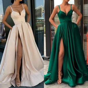 High Split Evening Dresses 2020 with Dubai Middle East Formal Gowns Party Prom Dress Spaghetti Straps Plus Size Vestidos De Festa
