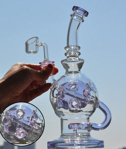 9.8 inchs Purple Bong Recycler Oil Rigs Smoking Glass Water Pipes Dab Hookahs Glass Water Bongs With 14mm banger