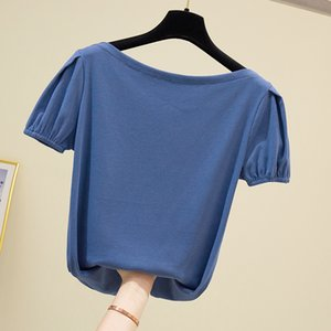Sexy word collar T-shirt 2020 new summer bubble sleeve high elastic solid color short-sleeved T-shirt tops women