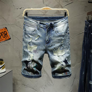 NEW Mens Ripped Biker Jeans Slim Fit BlackCool Guy Moto Denim Joggers For Male fear of god Distressed Jeans givency Pants short