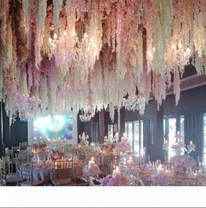 100pcs lot Elegant White Orchid Wisteria Vines Each Strip 79 Inches Silk Artificial Flower Wreaths For Weding Decoration