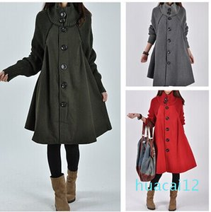 Fashion-2017 new autumn East Korean large size women in the long section of loose woolen coat pipe awning wool coat