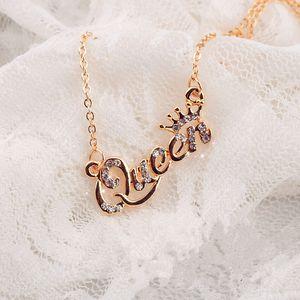Мода Golden Silver Rose Gold Choker письмо Королева Кулон Ожерелье Блестящий Кристалл Rhinestone ключицы цепи ожерелье ювелирные изделия для женщин