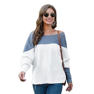 Clothing Womens Designer Patchwork Hoodies Long Sleeve O Neck Ladies Sweatshirts Fashion Contrast Color Loose Female