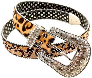 Ladies Multi Colour Rhinestone Belt Cowgirl with Studded Belt Leopard Style Leather Western Belt for Women