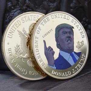 Трамп 2024 Золотая Медаль Цветная Печатка Металлическая Комминочная Монета Монета