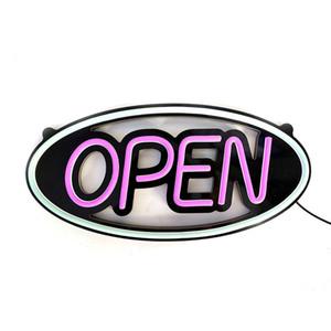 LED 네온 OPEN 로그인 광고 100-240V 원형 디자인하지 방수 21W 벽 장식 두 스위치 모드 보라색 빛