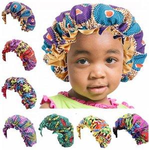 Enfants enfants Sleeping Hat Bonnets chaud enfant en bas âge satin Cap réglable couchage Cap nuit Chapeaux d'Afrique Imprimer Cap pour bébé tout-petits cheveux naturels