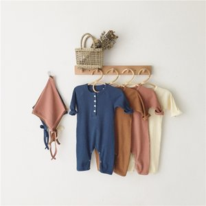 Autumn Winter Newborn Clothes 2020 New Kids Baby Girls Jumpsuit infant Boys Ribbed Cotton Romper With Full Sleeve Hats 0-3 Years