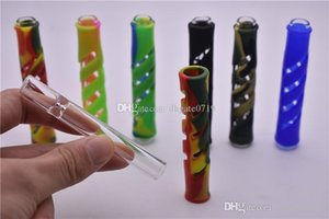 Colorful silicone clear glass Pipe Glass Steamroller Hand pipes pipes for smoking tobacco pipe Cigarette Filter Pipes