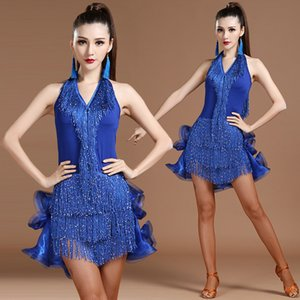 Latin Dance Dress Sleeveless 3 colors Fringe Salsa Ballroom Tango Cha Cha Rumba Samba Latin Dresses For Dancing