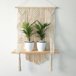 Macramé Hanging Planteur Panier mur main Hanger Pot Plante d'intérieur et Purl Bordures Bois Perle Mariage Décoration