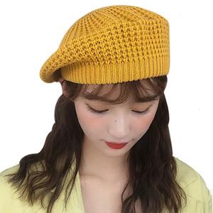 JIANGXIHUITIAN simple Femmes double couche Chapeau d'hiver Casual chapeau de laine tricotée avec des dames fille Solid Color Hats
