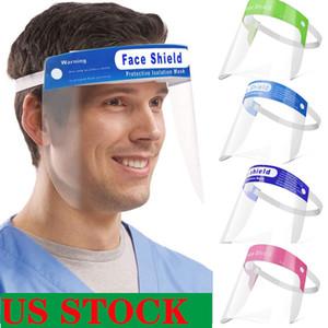 US Safety Stock! Много цветов лица щит Прозрачные защитные маски полнолицевые противотуманно защитные маски Премиум ПЭТ Материал Face Shield