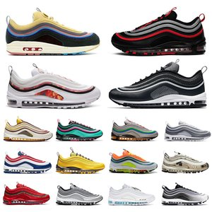 NIKE AIR MAX 97 AIRMAX 97 SEAN Wotherspoon Men Women Running Shoes Undefeated Silver Bullet 97s Bred Game Royal Jesus Triple Black White Mens Sports sneakers 36-45