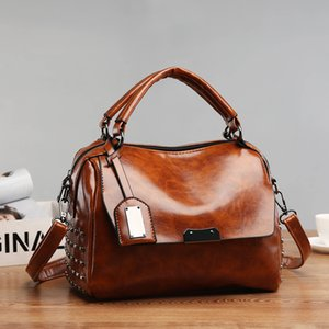 Women Bags Vintage bags for women 2020 Shoulder Bag Cover Rivet Casual Fashion Handbag High Quality PU Leather New Messenger bag