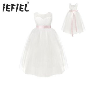 White Flower Girls Dresses For Wedding Gowns Cap Sleeve Lace Sash Bow Girl Birthday Party Dress Zipper Tulle Pageant Dress