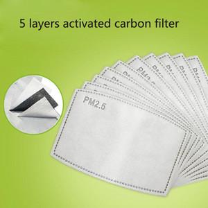 PM2.5 almohadilla del filtro para la máscara anti Haze máscara no tejido del cojín reemplazable Filter-rebanada 5Layers Filtro de carbón activado de la mascarilla Gasket DHL MMA3435
