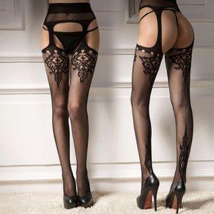 Длинная ночь жаккардовых три отверстия Sling колготки носков сексуальных открытых брюки сеток рыбацких сексуальные сетки носки Sling колготок