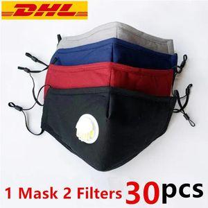 Máscaras DHL face Stock Cotton com válvula de 3 Camadas lavável reutilizáveis de pano Máscara Designer Rosto com 2 PM2.5 Fabric Filter Anti Poeira