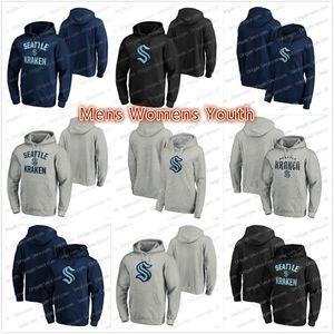 Plus récent 32e - Team 2020 Seattle Kraken personnalisé Logo primaire Marine Gris Noir Pull Hoodies Jersey Pull des femmes des hommes jeunes