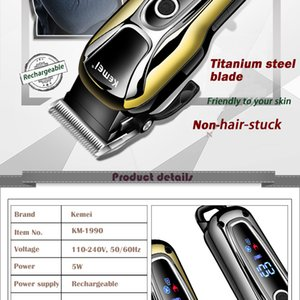 Kemei Trimmer Professional Hair Clipper Rechargeable Shaver Electric Hair Trimmer Lcd Screen Power Display Hairdresser Tools 4 zlstore007 gf